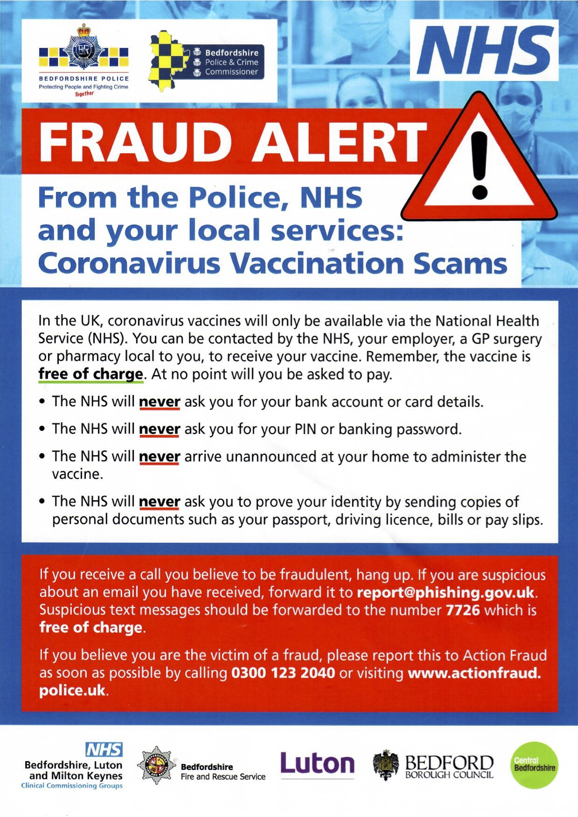 Covid 19 Fraud Poster - Beware of vaccination scams